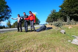 Céline, Flo et moi même faisant de l'autostop!