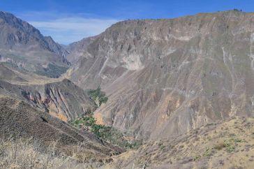 Vue sur le canyon colca depuis le mirador Apacheta avec l'oasis de sangall au fond de celle-ci